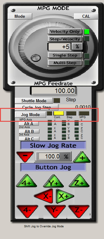 Faq mach3 in mach3 press the tab key to see the mpg mode window look to see if the cont button is yellow for jog mode if it is your game pad or pendant is aloadofball Image collections